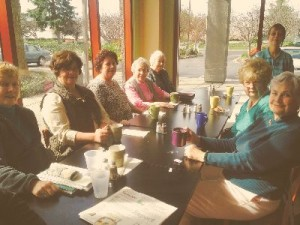 A few of us enjoying our monthly coffee